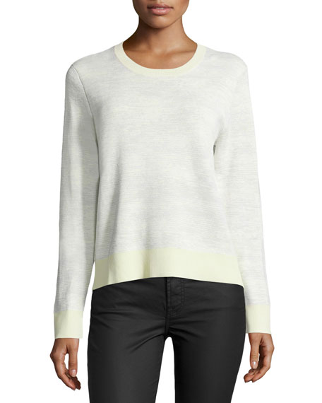 Long-Sleeve Abstract-Striped Pullover, Chalk/Light Celadon