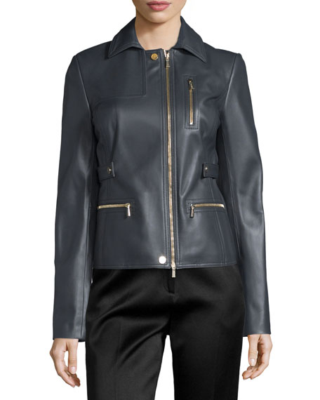 Jason Wu Zip-Pocket Lamb Leather Field Jacket, Charcoal