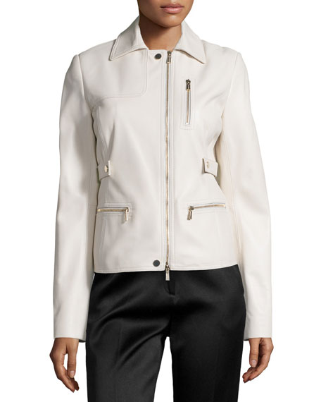 Jason Wu Zip-Pocket Lamb Leather Field Jacket, Plaster