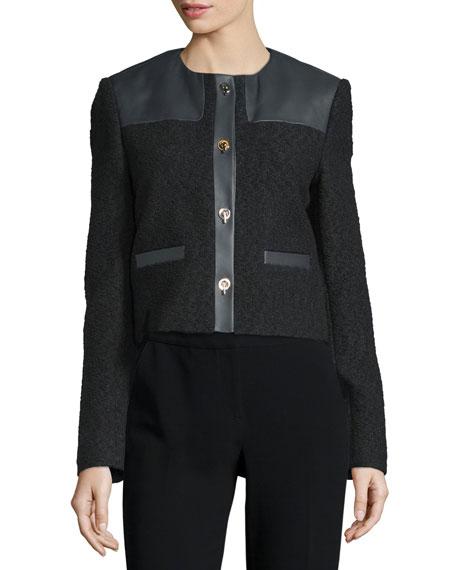 Jason Wu Button-Front Combo Boucle Jacket, Black