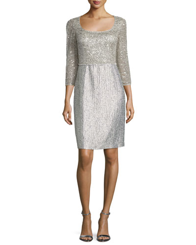 3/4-Sleeve Embellished Sheath Dress, Silver