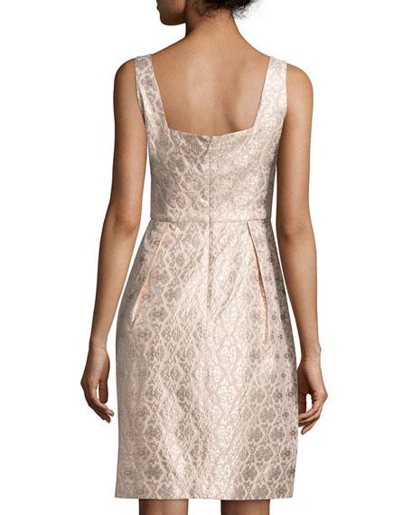 Sleeveless Pleated-Skirt Cocktail Dress, Blush