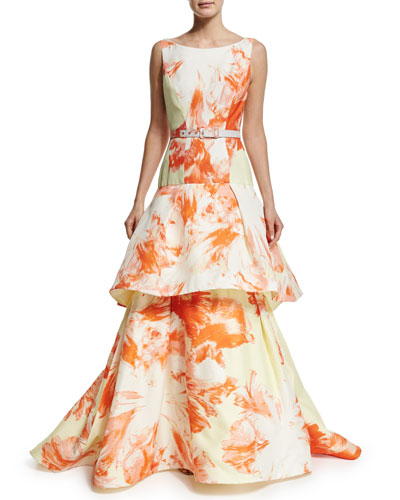 Sleeveless Vintage Floral Belted Gown, Citrus