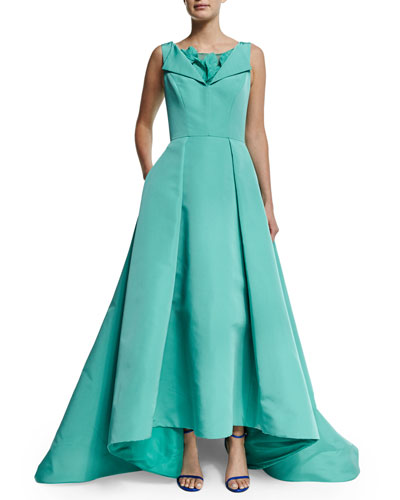 Sleeveless High-Low Gown W/Petal Applique, Sea Blue