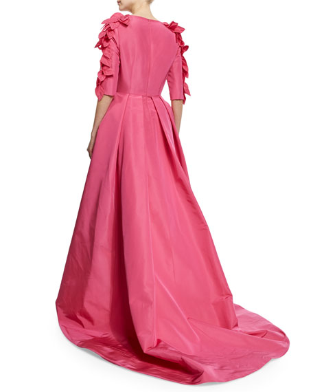 3/4-Sleeve High-Low Gown W/Petals, Passion Pink