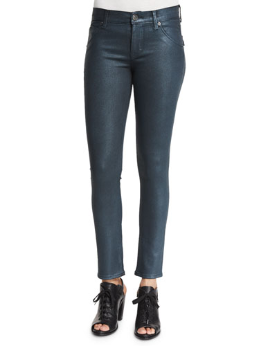 Lilly Metallic Skinny Ankle Jeans, Metallic Mineral