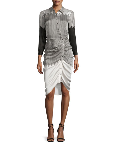 Veronica Beard Clara Ruched Silk Shirtdress, Black/White
