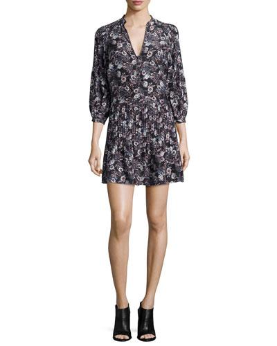 Veronica Beard Palmetto Silk Pintuck Boho Dress, Black