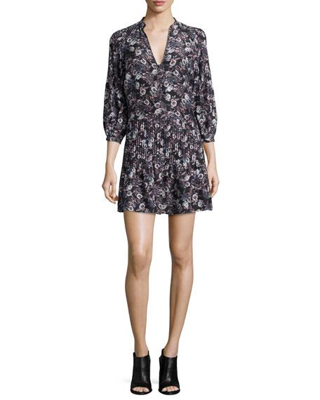 Palmetto Silk Pintuck Boho Dress, Black