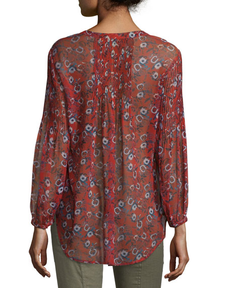 Pond-Print Pintucked Henley Boho Top, Rust Floral