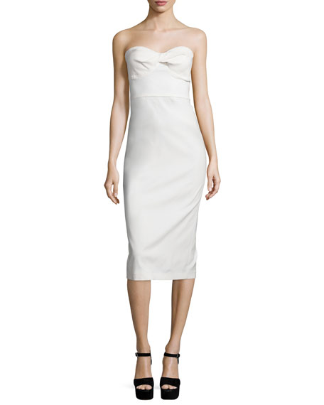 Veronica Beard Edelia Strapless Bustier Dress, White