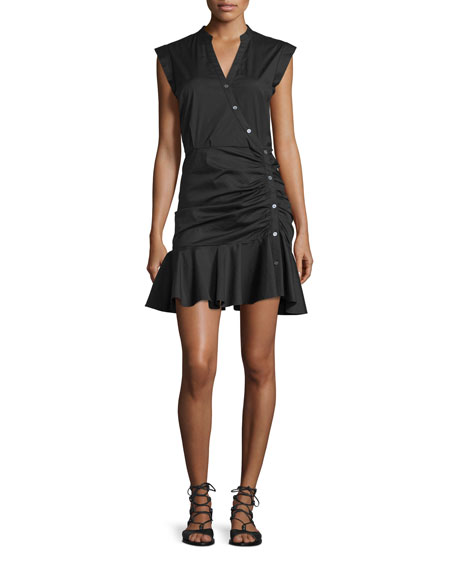Veronica Beard Fountain Ruched Poplin Shirtdress, Black
