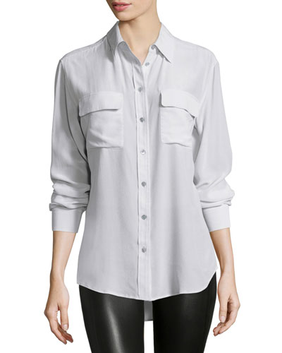 Slim Signature Long-Sleeve Top, Whisper