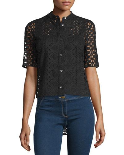 Starboard Boxy Lace Shirt, Black