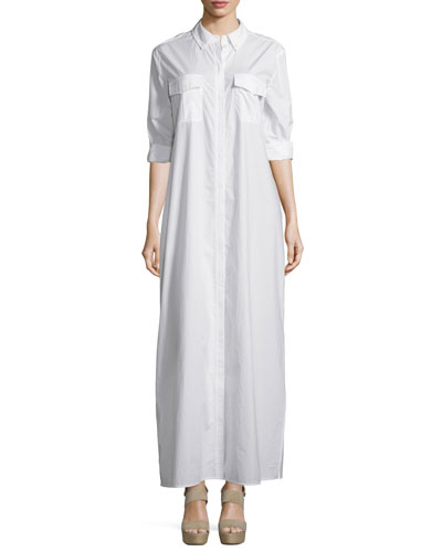 Major Button-Front Maxi Dress, Bright White