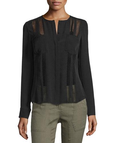 Desert Silk Lace-Trim Blouse, Black