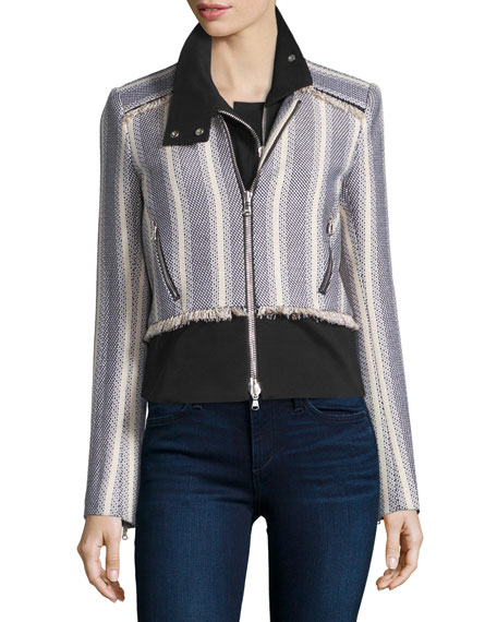 Veronica Beard Destin Tweed Jacket with Moto Dickey,