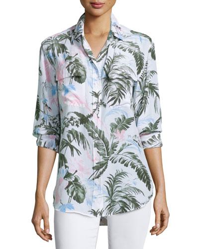 Signature Button-Front Shirt, Bright White/Multi