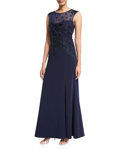 Sleeveless Cap-Sleeve Embroidered-Bodice Gown