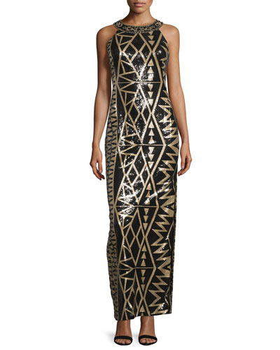 Beaded Geometric-Print Column Gown
