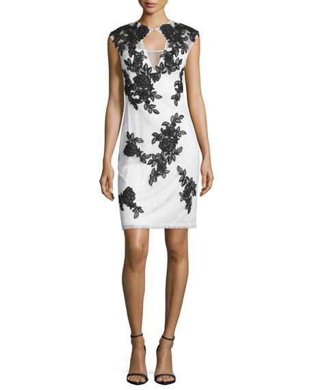 Sue Wong Cap-Sleeve Lace Sheath Cocktail Dress