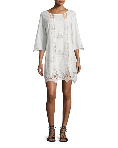 Figue Anina 3/4-Sleeve Crochet-Inset Dress, Ivory