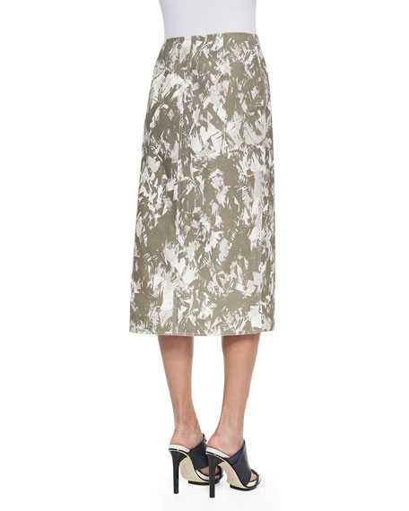 Brushstroke-Print Midi Wrap Skirt, Army Multi