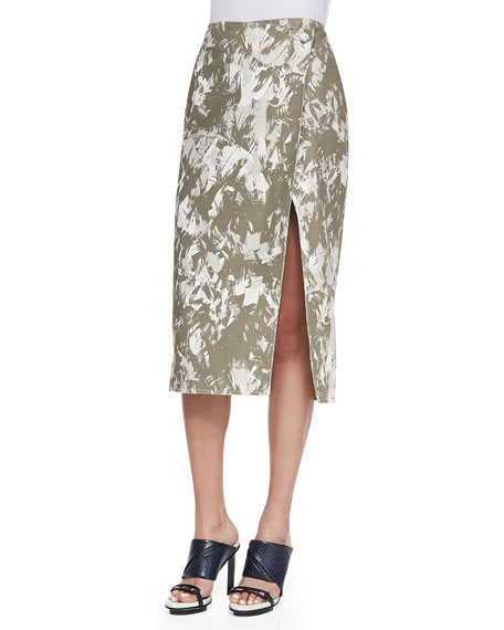 Jason Wu Brushstroke-Print Midi Wrap Skirt, Army Multi
