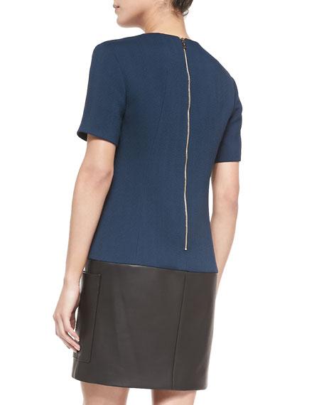 Short-Sleeve Crepe/Leather Tunic Dress