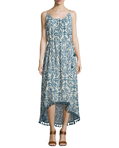 Lena Sleeveless Ikat-Print Midi Dress, Denim/Ecru