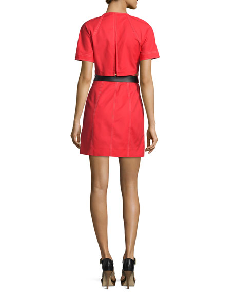 Contrast-Stitch Belted Trench Dress, Coral Reef