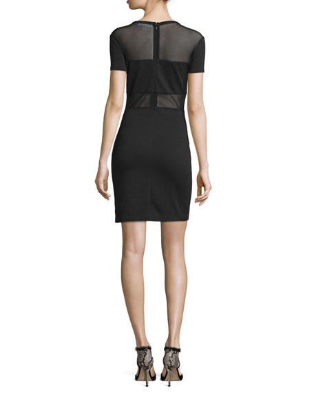 Short-Sleeve Ponte Sheath Dress with Mesh Panels, Black