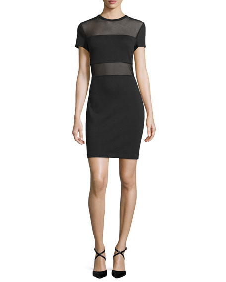 MICHAEL Michael Kors Short-Sleeve Ponte Sheath Dress with Mesh Panels, Black
