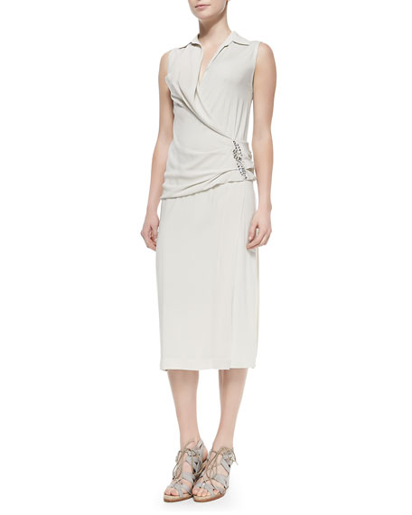 Donna Karan Sleeveless Back-Drape Dress, Chalk