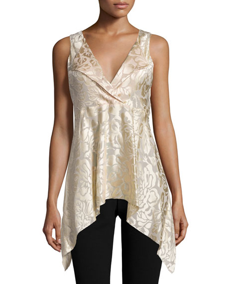 Donna Karan Sleeveless V-Neck Draped Tunic, Parchment