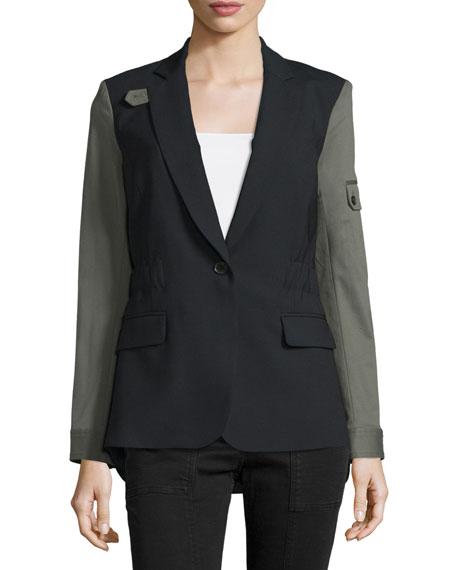 Veronica Beard Colorblock Wool-Blend Jacket, Black/Army
