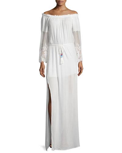 Nova Off-The-Shoulder Maxi Dress, White