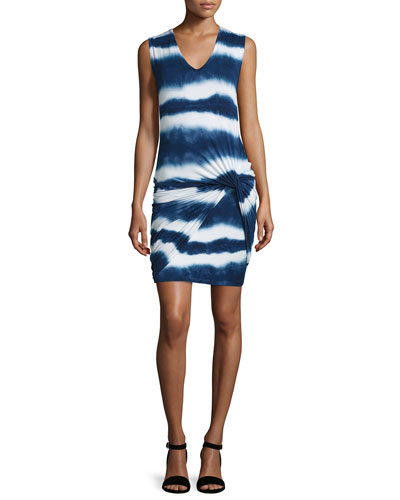 Fleur Sleeveless Striped Dress, Navy Shibori Stripe