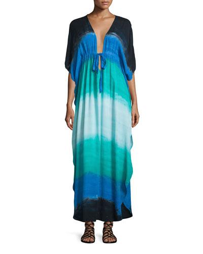 Julie Half-Sleeve Maxi Dress, Blue Pattern