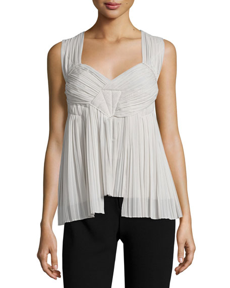Donna Karan Sleeveless Sweetheart-Neck Plisse Top, Platinum