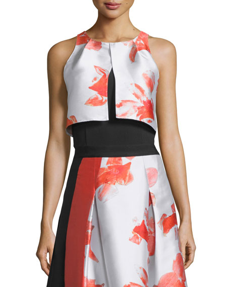 Sleeveless Floral-Print Crop Top, Orchid