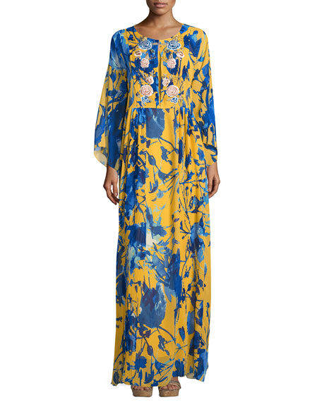 Sachin & Babi Noir Floral-Print Long-Sleeve Caftan Dress, Citrine