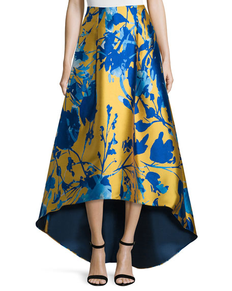 Sachin & Babi Noir Floral Jacquard High-Low Skirt, Citrine