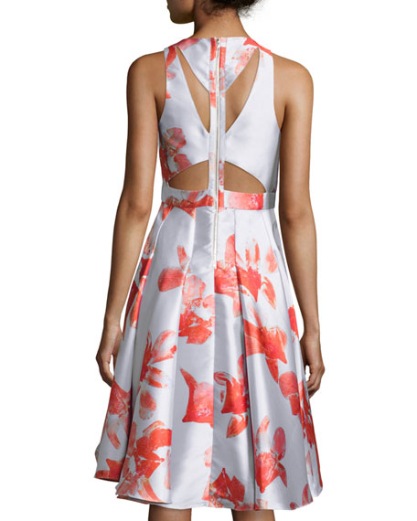 Sleeveless Floral Jacquard Cut-Out Back High-Low Dress