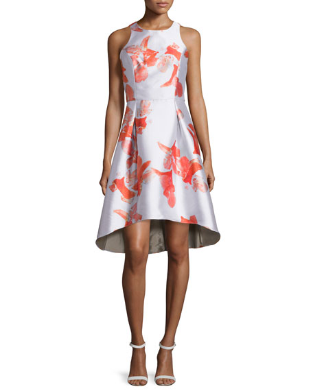NM Exclusive Sleeveless Floral Jacquard Cut-Out Back High-Low