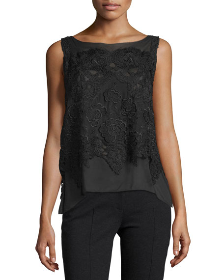Donna Karan Sleeveless Bateau-Neck Macrame-Overlay Top, Black