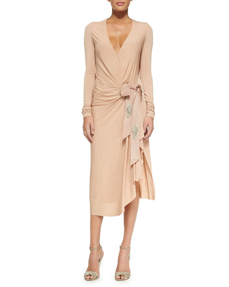 Donna Karan Draped Grosgrain Bow Dress