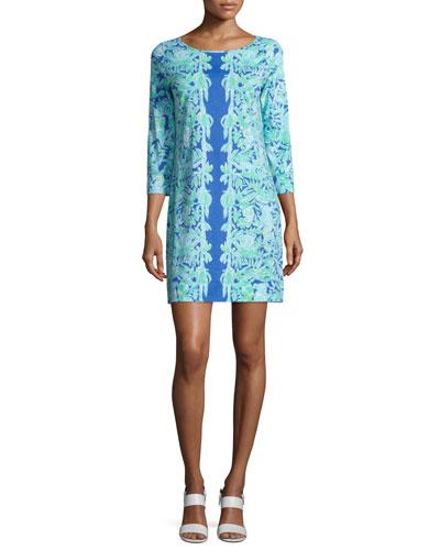 Marlowe Printed Shift Dress, Poolside Blue