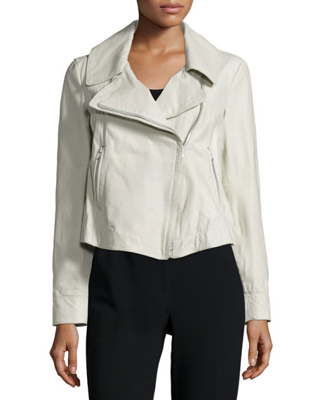 Donna Karan Zip-Front Leather Jacket, Platinum