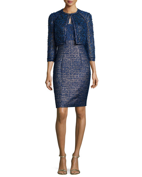 Two-Piece Cocktail Dress & Jacket Set, Navy